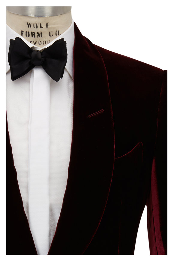 Tom Ford Shelton Burgundy Liquid Velvet Dinner Jacket