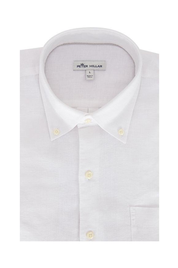 Peter Millar Solid White Linen Sport Shirt