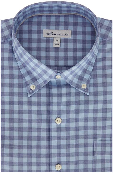 Peter Millar Garrett Blue Gingham Sport Shirt