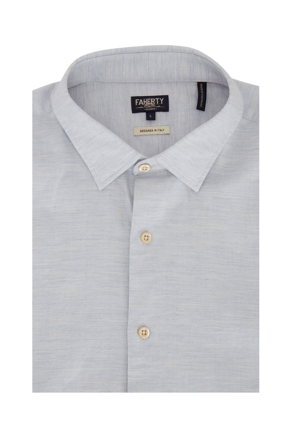 Faherty Brand Light Blue Sueded Twill Woven Sport Shirt