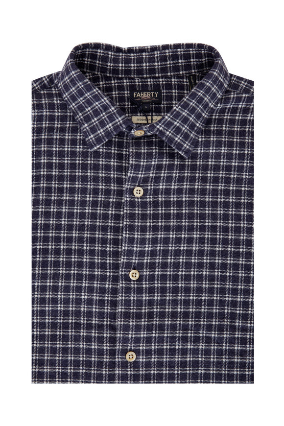 Faherty Brand Navy Blue Check Flannel Sport Shirt