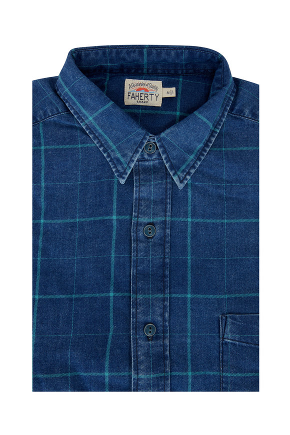 Faherty Brand Ventura Everyday Indigo Windowpane Sport Shirt