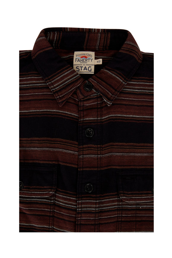 Faherty Brand Serape Charcoal Stripe Button Down Shirt