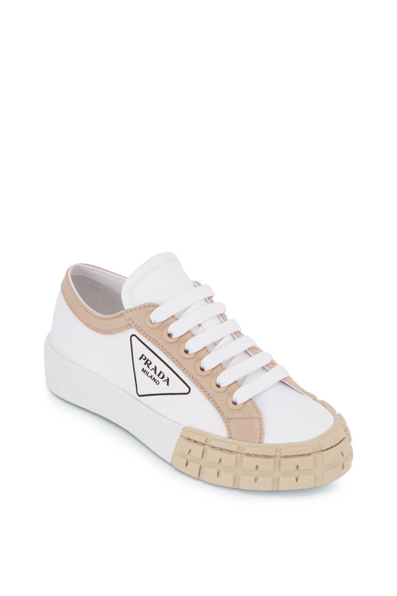 Prada White & Natural Canvas Lace-Up Sneaker