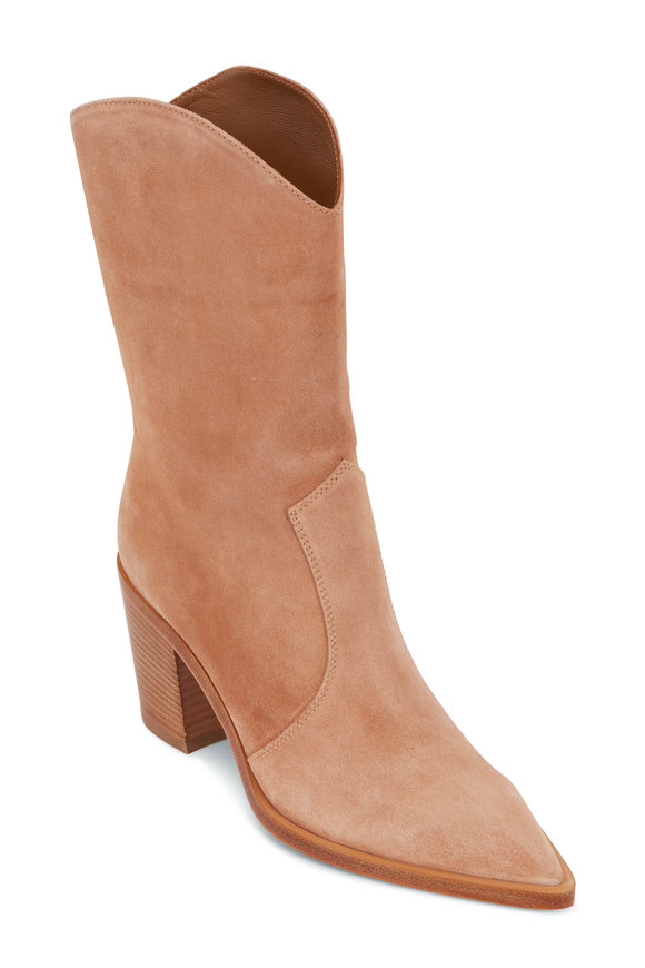 Gianvito Rossi Denver Sahara Suede Mid-Calf  Boot, 70mm