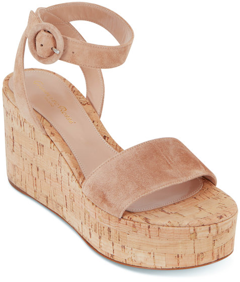Gianvito Rossi Sahara Suede Cork Flatform Sandal, 75mm