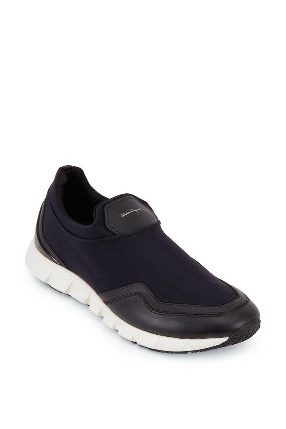 Salvatore Ferragamo Columbia Black Leather & Fabric Slip-On Sneaker