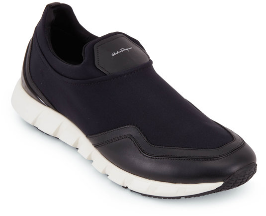Salvatore Ferragamo Columbia Black Leather & Fabric Slip-On Sneaker