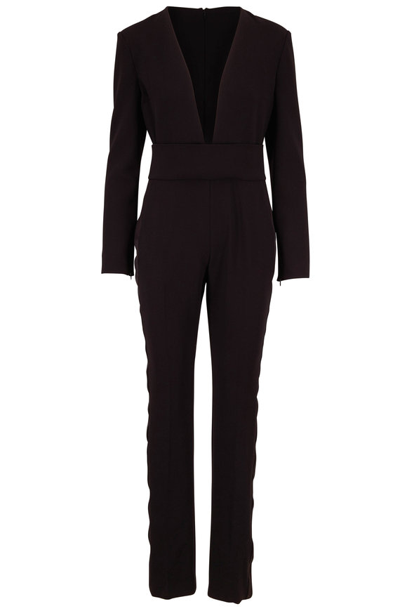 Tom Ford Black Stretch Wool Tuxedo Stripe Jumpsuit