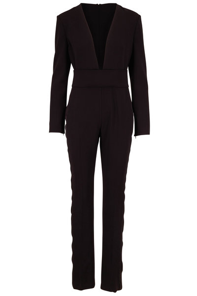Tom Ford - Black Stretch Wool Tuxedo Stripe Jumpsuit