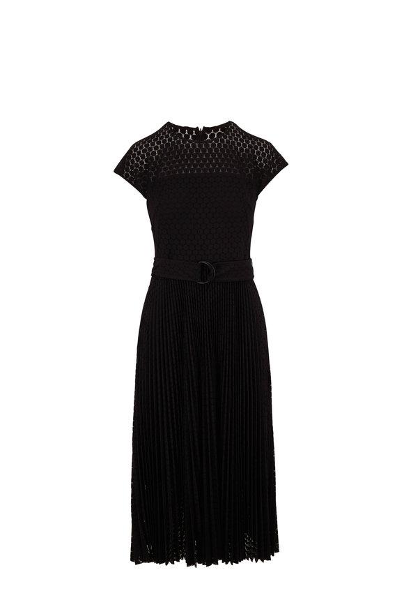 Akris Punto Black Dot Lace Capsleeve Belted Dress