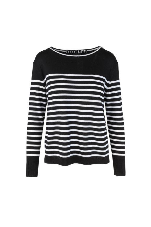 Bogner Livy Black & White Striped Wool Sweater