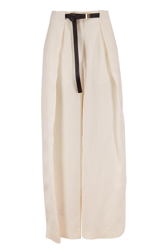 The Row Brona Ivory Silk & Linen Full Leg Belted Pant