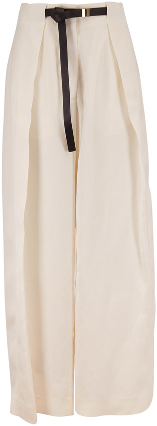 The Row Brona Ivory Silk & Linen Full Leg Belted Pant