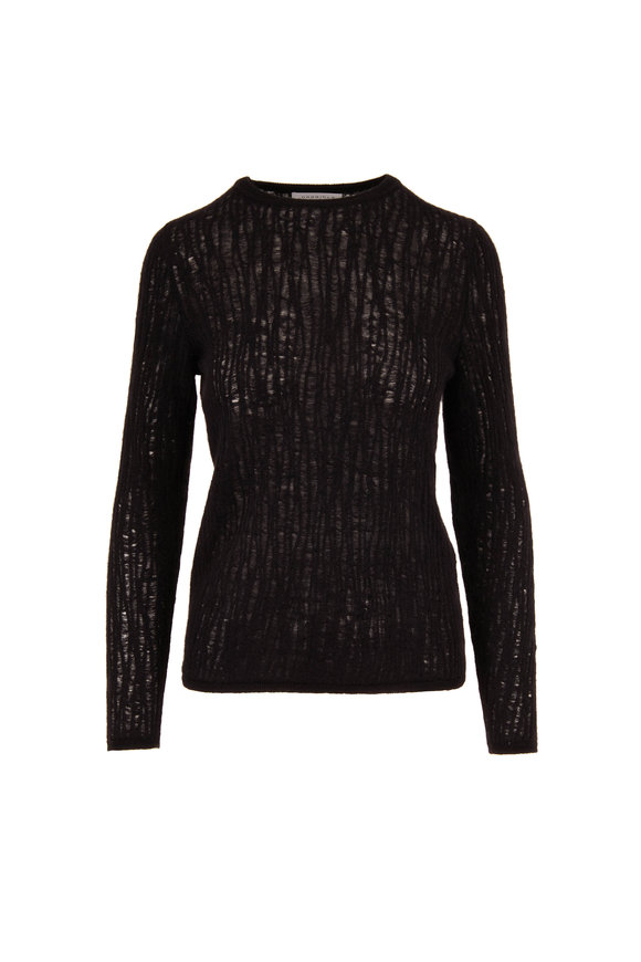Gabriela Hearst Carey Black Cashmere & Silk Open Weave Sweater