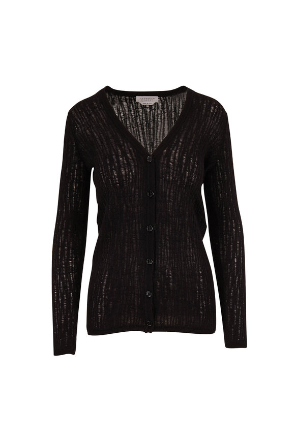 Gabriela Hearst Cata Black Open Weave V-Neck Cardigan