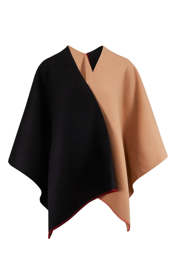 Gabriela Hearst Francis Camel & Black Brushed Cashmere Cape