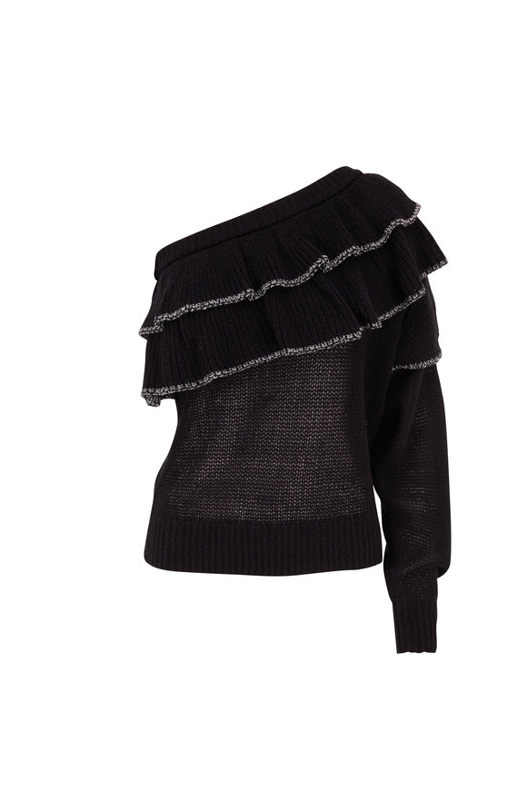 IRO Damero Black One-Shoulder Ruffle Sweater