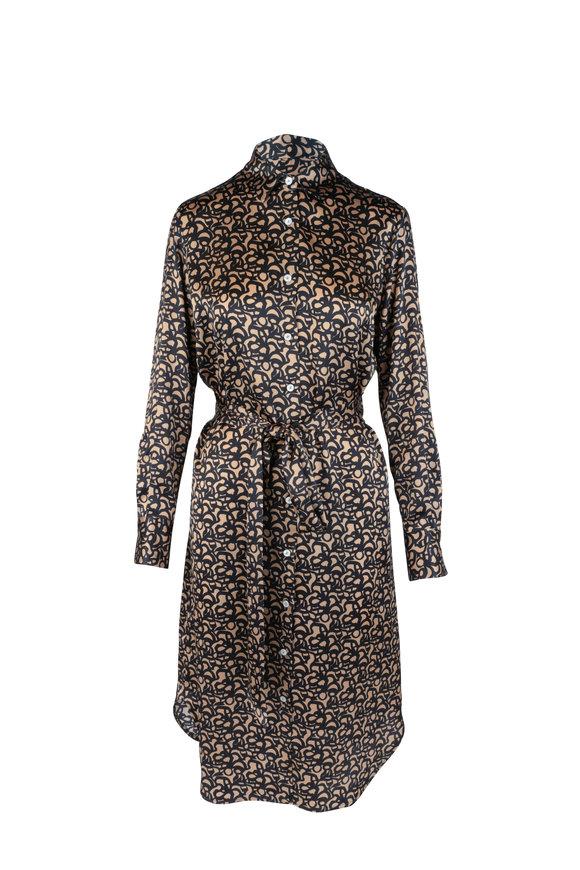 Kiton Black & Bronze Graphic Print Silk Dress