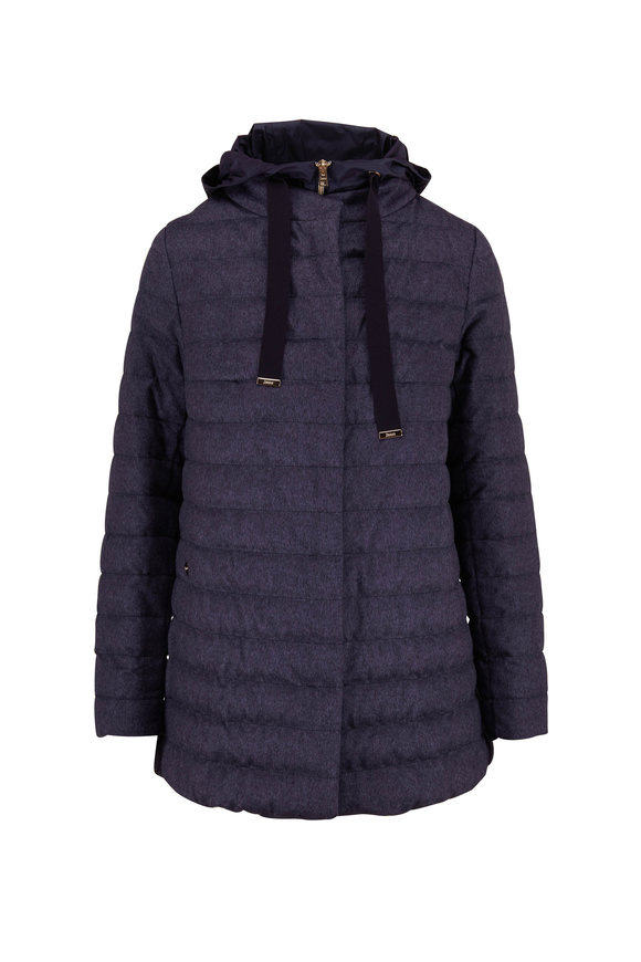 Herno Navy Blue Cashmere & Silk Dickey Down Jacket