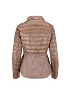 Herno - Taupe Peplum Hem Puffer Coat