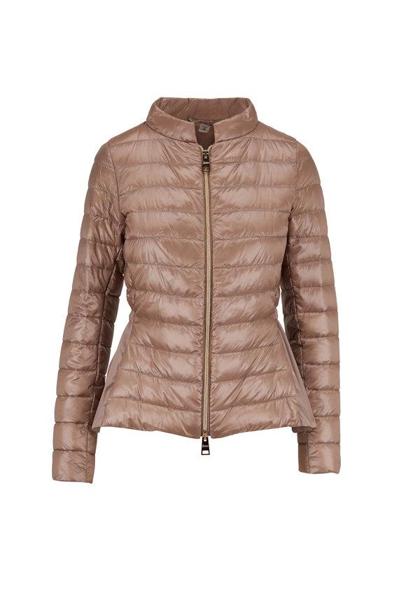 Herno Taupe Peplum Hem Puffer Coat
