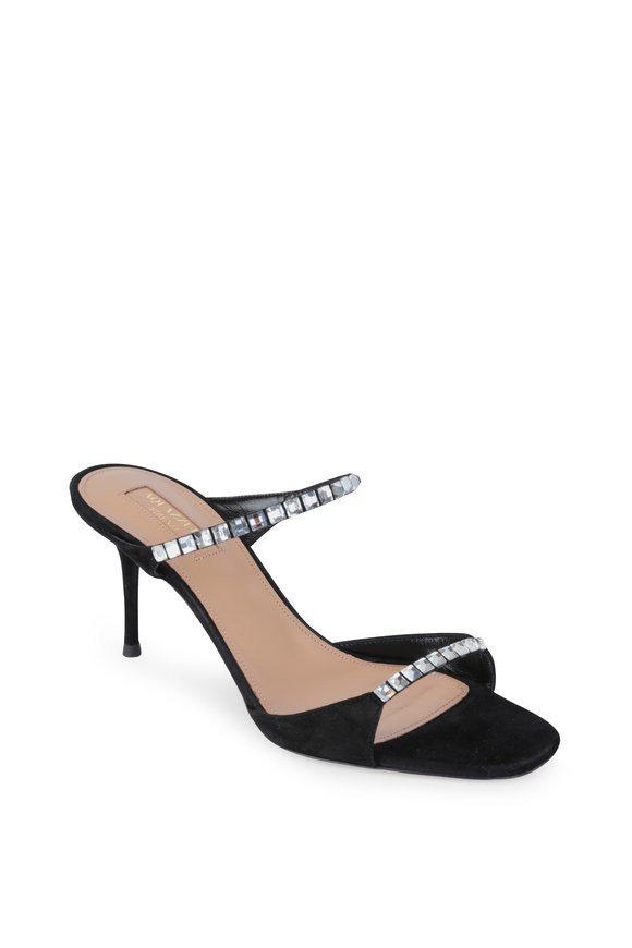 Aquazzura Diamante Black Suede & Crystal Slide Sandal, 75mm