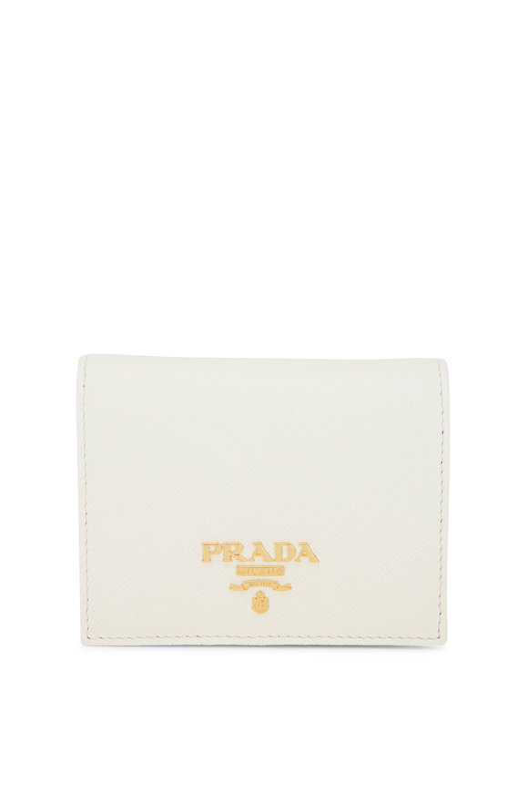 Prada White Grained Leather Small Fold-Over Wallet
