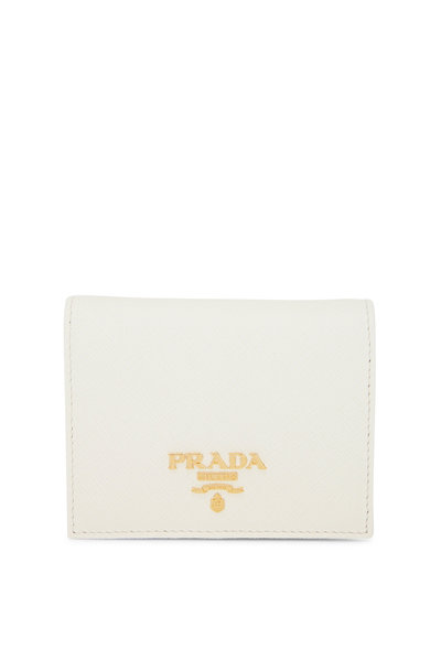 Prada - White Grained Leather Small Fold-Over Wallet