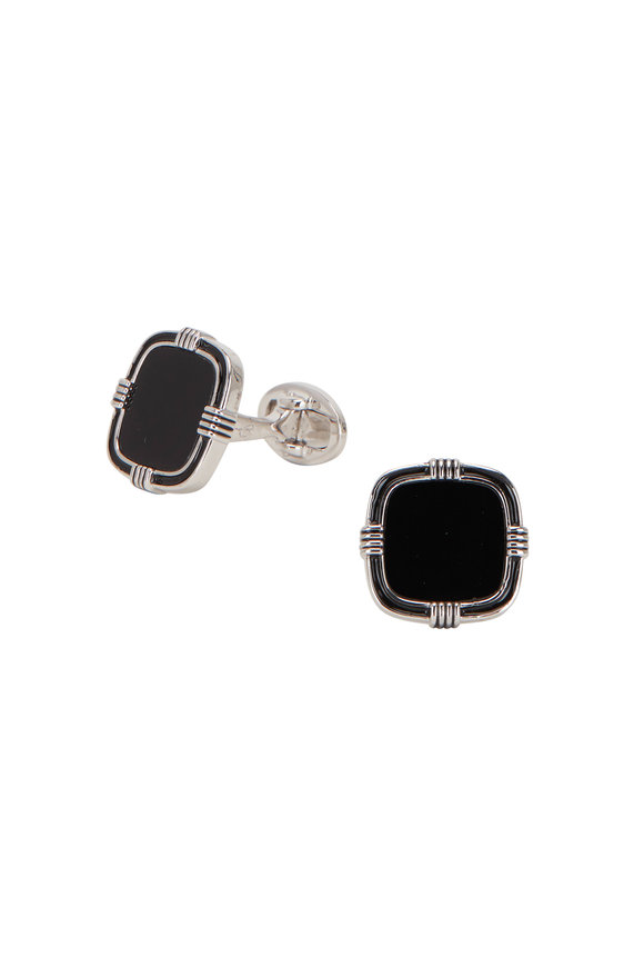 Jan Leslie Sterling Silver Black Onyx Cufflinks