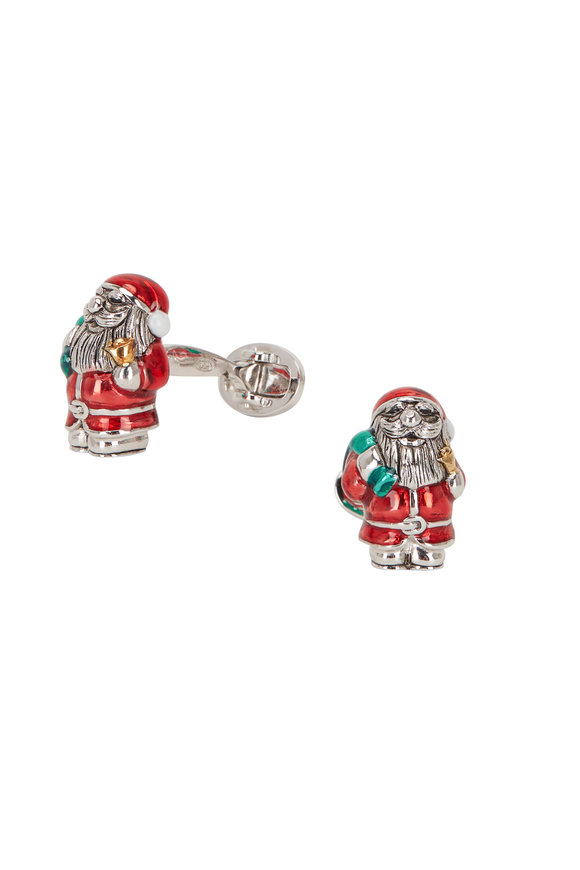Jan Leslie Sterling Silver Santa Cufflinks