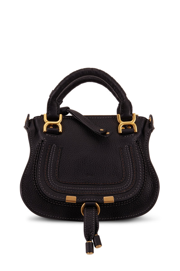 Chloé Marcie Black Leather Top Handle Mini Saddle Bag