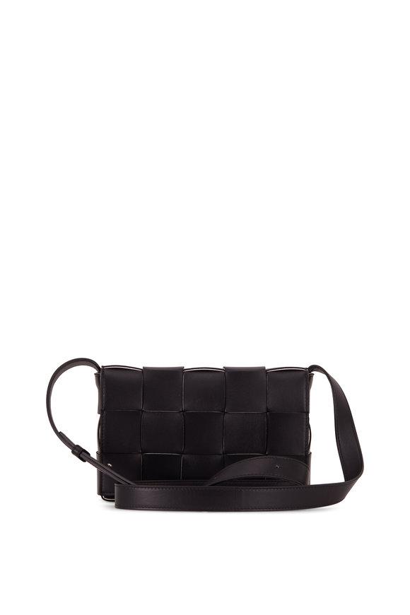 Bottega Veneta Cassette Black Leather Small Crossbody Bag