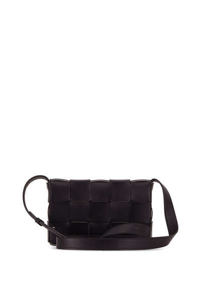 Bottega Veneta - Cassette Black Leather Small Crossbody Bag