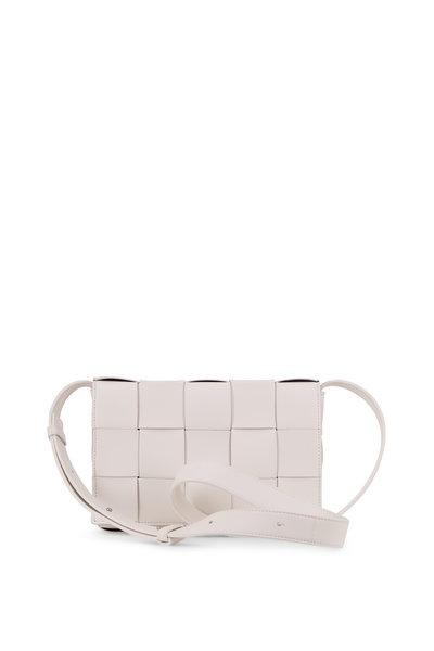 Bottega Veneta - Cassette White Leather Small Crossbody Bag