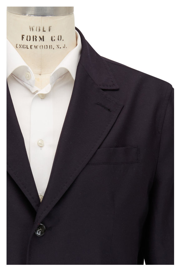 Kiton Navy Cashmere Blazer Jacket With Red Vest