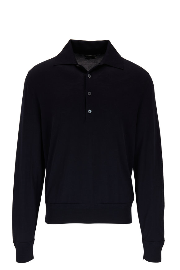 Tom Ford Navy Blue Merino Wool Polo Sweater