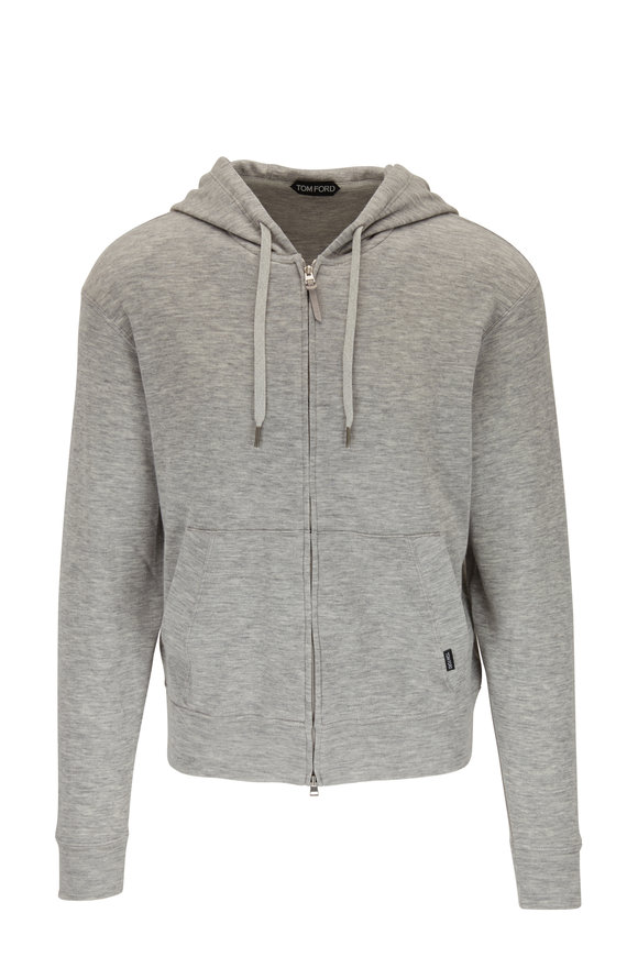 Tom Ford Grey Cashmere Zip Hoodie