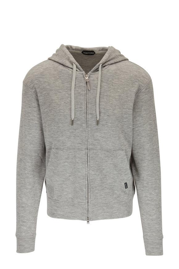 Tom Ford Grey Cashmere Zip Hoodie