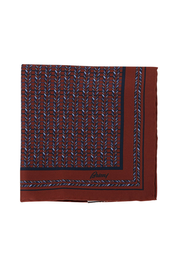Brioni Rust Feather Silk Pocket Square