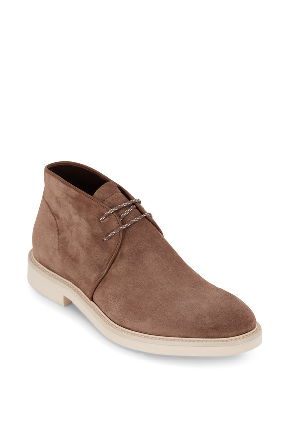 Ermenegildo Zegna New Trivero Medium Brown Suede Chukka Boot