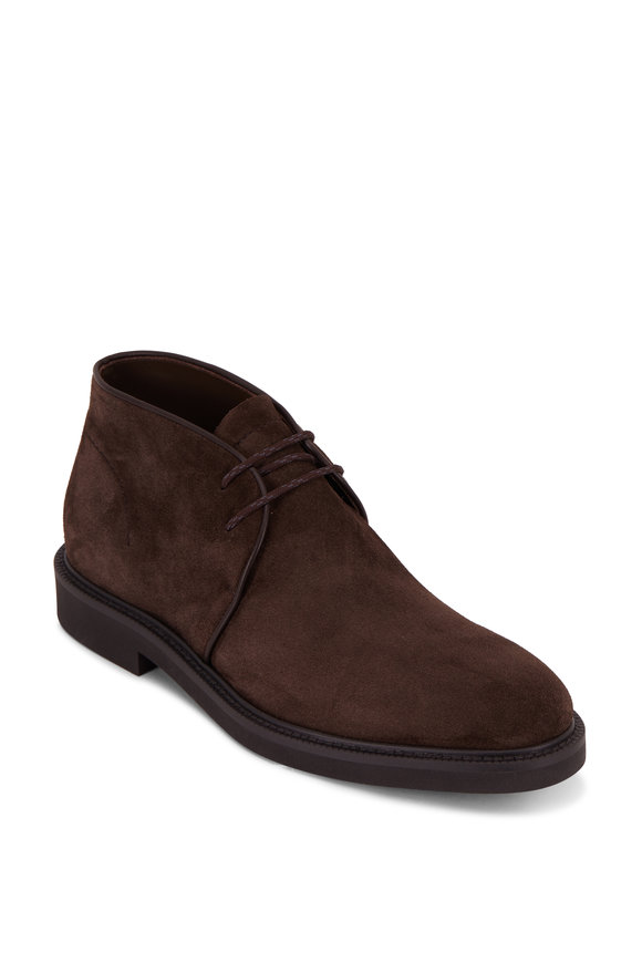Ermenegildo Zegna New Trivero Dark Brown Suede Chukka Boot