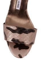 Manolo Blahnik - Lauratomon Dark Silver Snakeskin Sandal, 70mm