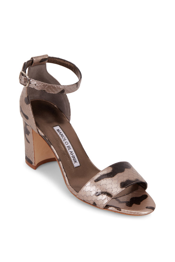 Manolo Blahnik Lauratomon Dark Silver Snakeskin Sandal, 70mm