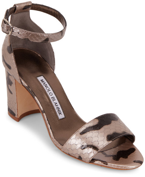 Manolo Blahnik Lauratomon Dark Silver Snakeskin Sandal, 70mm