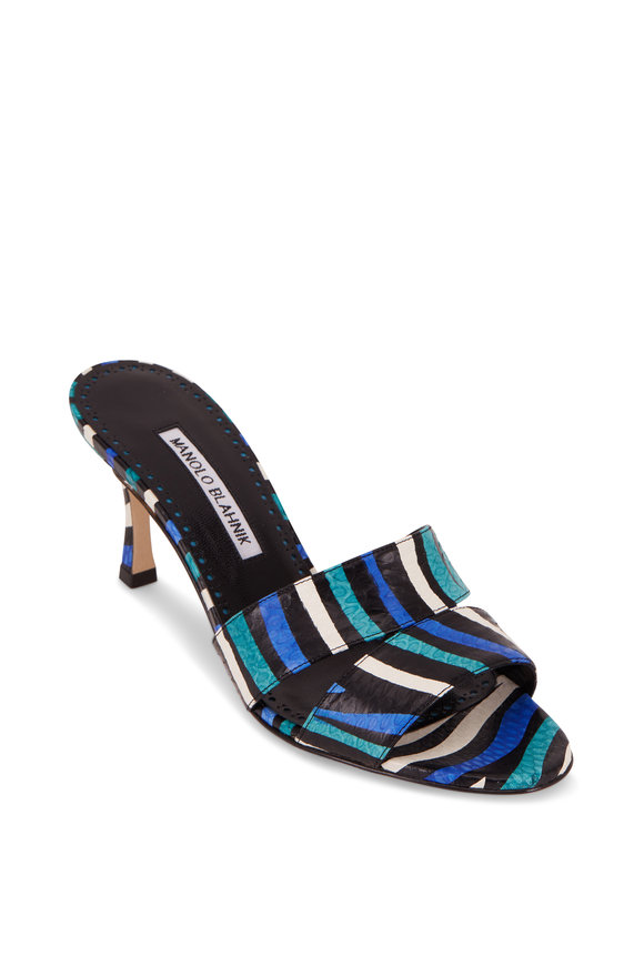 Manolo Blahnik Iacopo Blue,Teal & Black Snakeskin Mule, 70mm