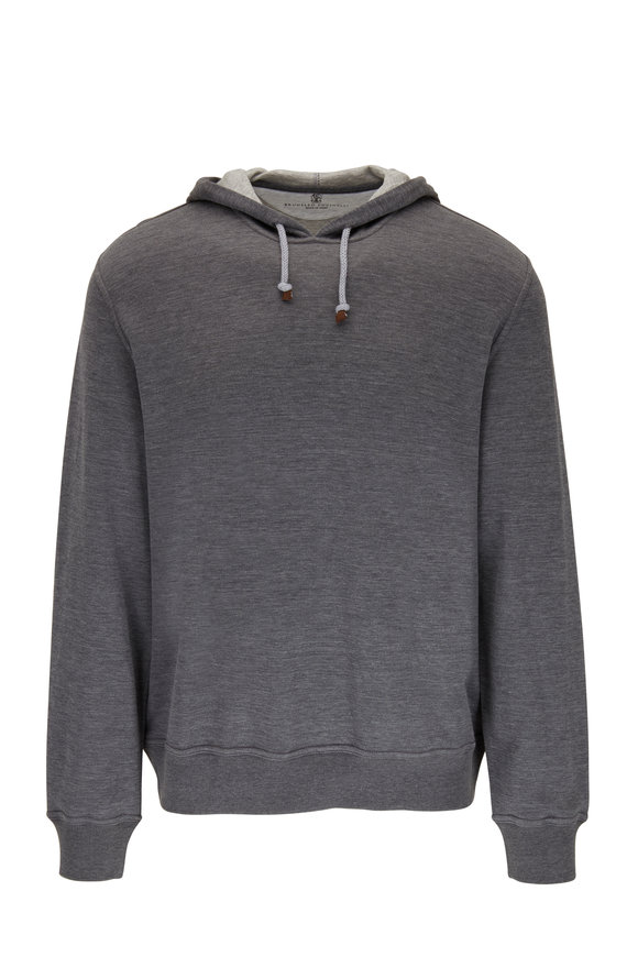 Brunello Cucinelli Charcoal Gray Cotton & Silk Hoodie