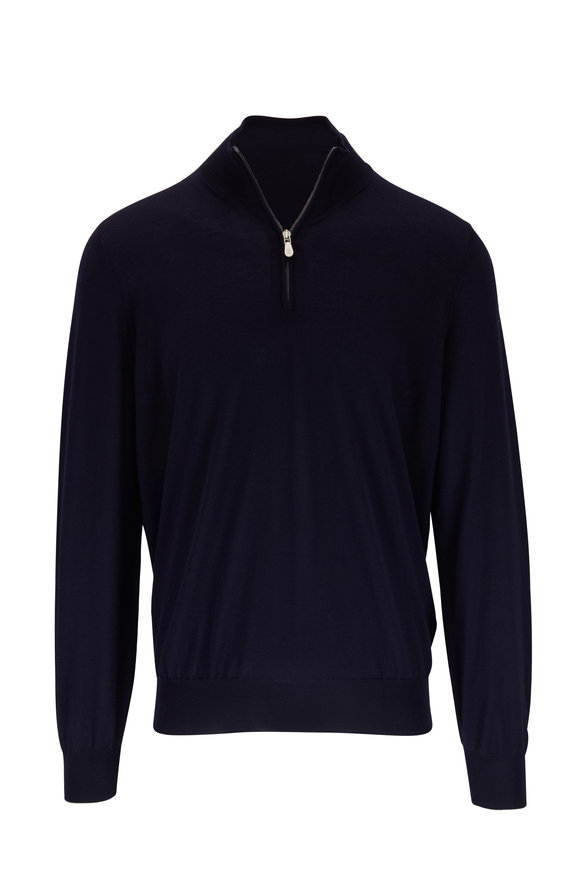 Brunello Cucinelli Navy Blue Wool & Cashmere Quarter-Zip Pullover