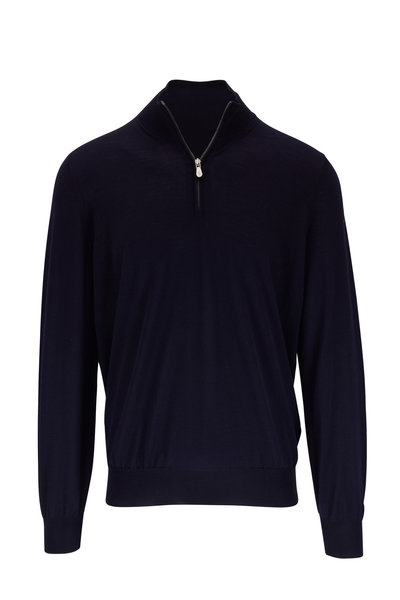 Brunello Cucinelli - Navy Blue Wool & Cashmere Quarter-Zip Pullover
