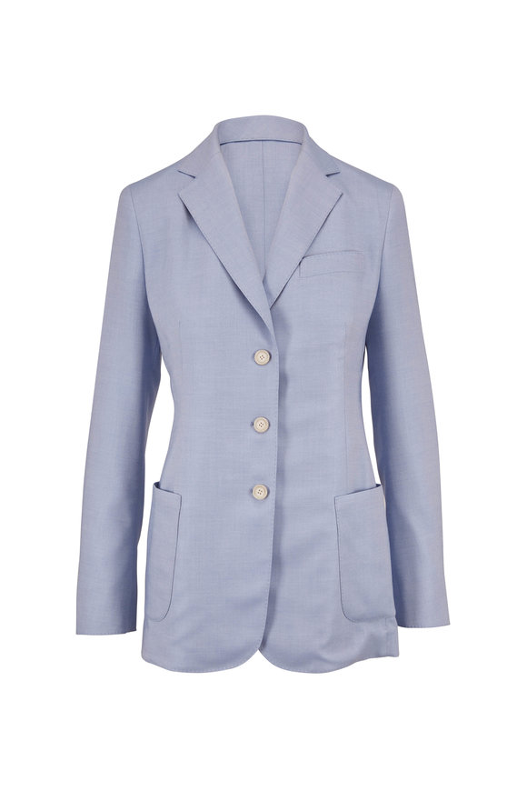 Akris Gan Ice Cashmere & Silk Twill Three Button Jacket